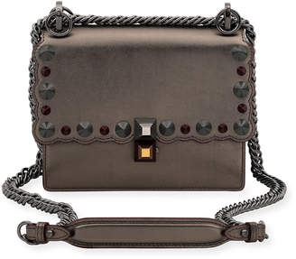 Fendi Kan I Mini Scalloped Studded Chain Shoulder Bag, Gray