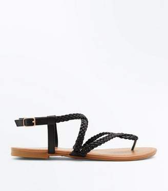 New Look Girls Black Cross Plait Strap Flat Sandals