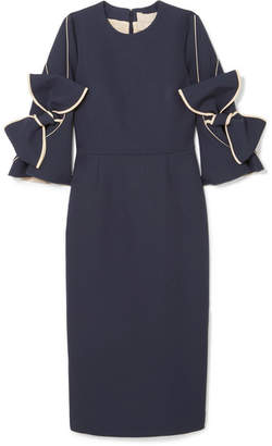 Roksanda Lavete Bow-embellished Crepe Midi Dress - Midnight blue