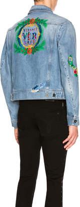 Versace (ヴェルサーチ) - Versace VERSACE Printed Denim Jacket in Blue | FWRD