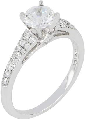 Bony Levy Pave Diamond & Cubic Zirconia Four Prong Solitaire Ring