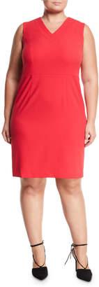 Nine West Plus V-Neck Pebbled Crepe Midi Dress, Plus Size