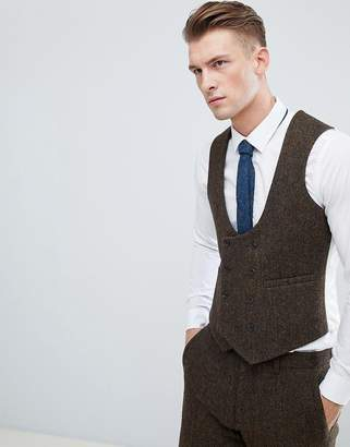 Asos DESIGN slim suit vest in 100% wool Harris Tweed in brown herringbone