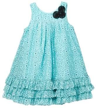 Pippa & Julie Flower Trim Lace Dress (Toddler Girls)