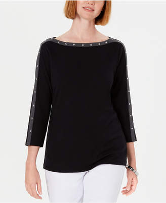 Karen Scott Petite Cotton Studded Boat-Neck Top