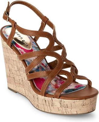 Madden-Girl Cognac Paris Elmaa Cork Platform Wedge Sandals