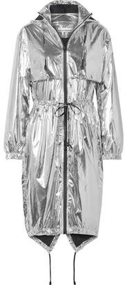 Paco Rabanne Hooded Printed Metallic Shell Jacket - Silver