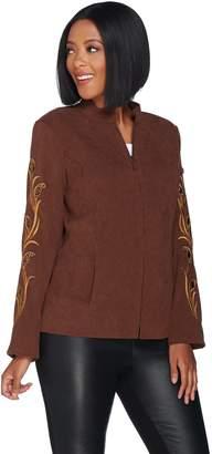 Bob Mackie Bob Mackie's Faux Suede Jacket with Rhinestone and Embroidery
