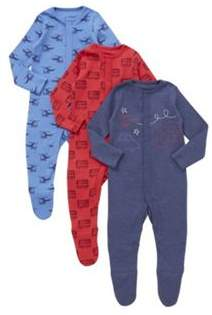 3 Pack of Transport Print Sleepsuits