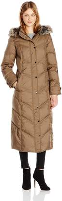 London Fog Women's Long Mitred Quilt Downwith Faux Fur Trim Hood