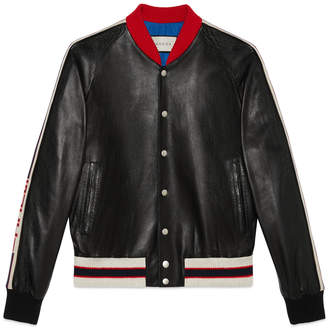 Leather bomber jacket with appliqué $3,350 thestylecure.com