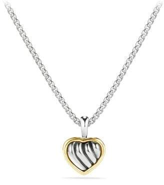 David Yurman Cable Kids Heart Pendant Necklace With 18K Gold