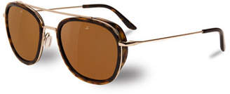 Vuarnet Edge Rectangular Aviator Polarized Sunglasses, Tortoiseshell/Gold