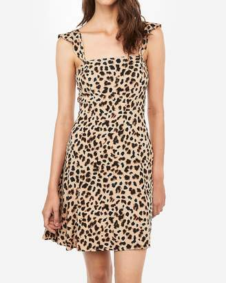 Express Leopard Square Neck Fit And Flare Dress