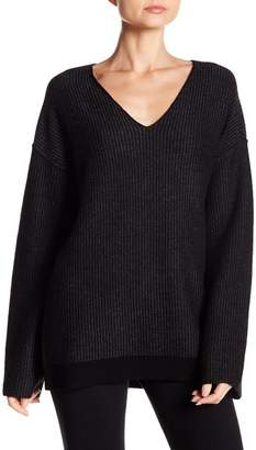 ATM Anthony Thomas Melillo Wool Blend Ribbed V-Neck Sweater