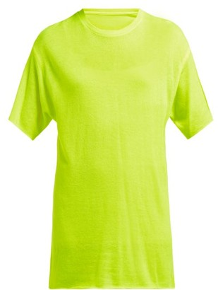 The Elder Statesman Tie Dye Cashmere And Silk Blend T Shirt - Womens - Yellow