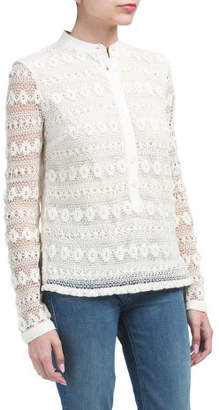 Lace Crochet Overlay Henley