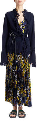 Sacai Scoop-Neck Floral-Print Pleated Long Dress with Fringed Cardigan