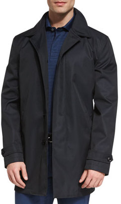 Ermenegildo Zegna Single-Breasted Macintosh Jacket, Navy $1,995 thestylecure.com