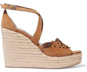 Tabitha Simmons Clem Laser-Cut Suede Espadrille Wedge Sandals