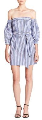 MILLY Striped Cotton & Silk Off-The-Shoulder Dress $395 thestylecure.com