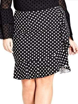 City Chic Plus Polka-Dot Frill Skirt