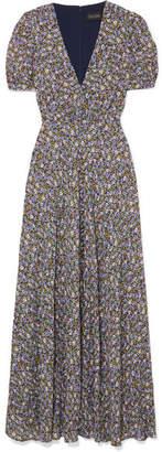Saloni Lea Floral-print Crepe De Chine Maxi Dress - Navy