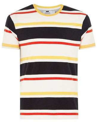 Topman Mens Yellow Striped T-Shirt