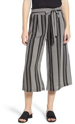Bobeau Tie Waist Wide Leg Stripe Crop Pants