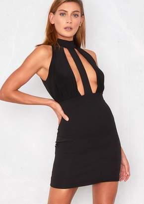 Missy Empire Missyempire Giselle Black Extreme Plunge Choker Strap Bodycon  Dress f4b8fa75e