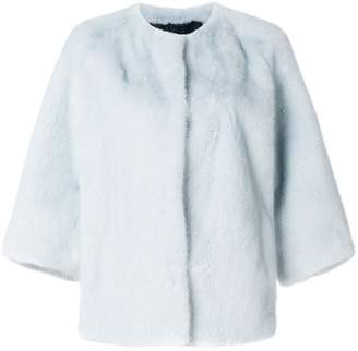 Yves Salomon mink fur cropped sleeve jacket