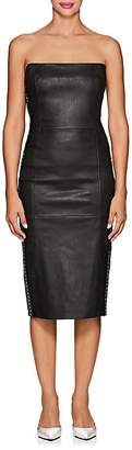 Area Women's Embellished Leather Strapless Dress