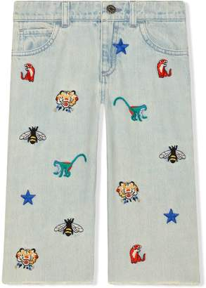 Gucci Kids Children's embroidered denim pant