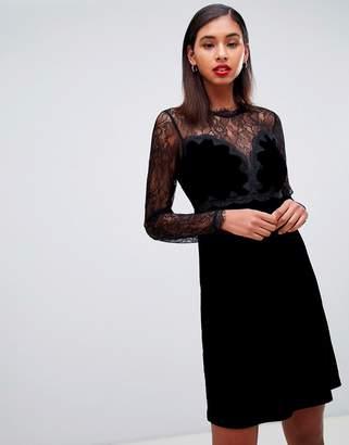 Morgan lace trim velvet mini prom dress in black