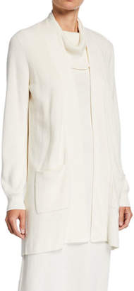 Joan Vass Petite Open-Front Ribbed Cardigan with Patch Pockets