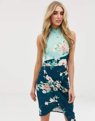 Lipsy wrap front high neck midi dress in floral print