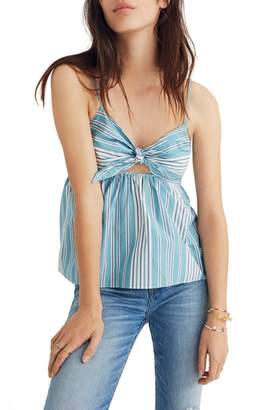 Madewell Stripe Tie Front Keyhole Camisole
