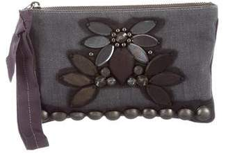 Lanvin Denim Embroidered Clutch