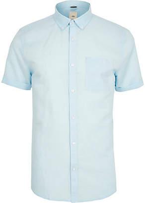 River Island Light blue linen short sleeve shirt