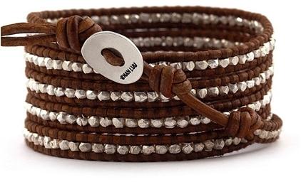 Chan Luu Sterling Silver Wrap Bracelet On Leather