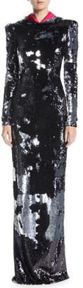 Naeem Khan Long-Sleeve Sequined Metallic Column Evening Gown w/ Removable Hood