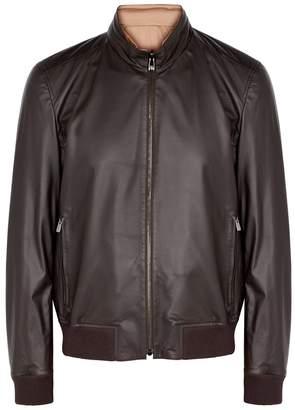 Dark Brown Reversible Leather Jacket