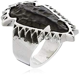King Baby Studio Carved Jet Arrowhead Sawtooth Setting Ring