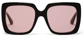 b0968cc55a Gucci Crystal Logo Square Frame Acetate Sunglasses - Womens - Black Pink