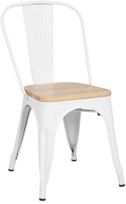 Poly and Bark Trattoria Side Chair in with Oak Seat in White