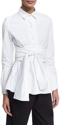Co Tiered Poplin Shirt with Obi Belt