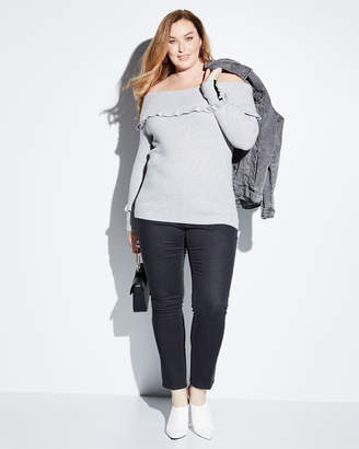 Neiman Marcus Marilyn Cashmere Off-The-Shoulder Pearly-Cuff Sweater, Plus Size