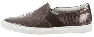 Lanvin Embossed Leather Slip-On Sneakers