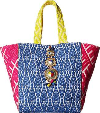 Steve Madden Zena Tribal Geometric Colored Bohemian Fabric Tote Shoulder Beach Handbag