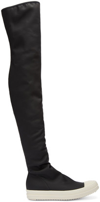 Rick Owens Drkshdw Black Rubber Over-the-Knee Boots $760 thestylecure.com